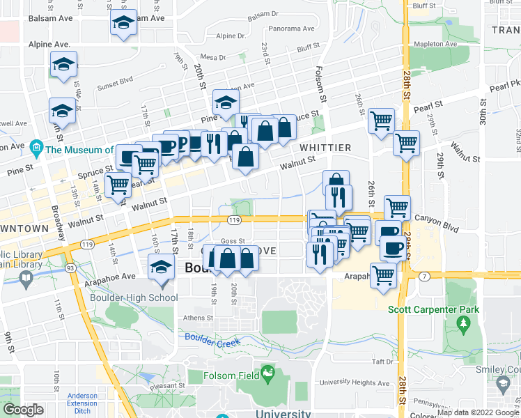map of restaurants, bars, coffee shops, grocery stores, and more near 2121 Canyon Boulevard in Boulder