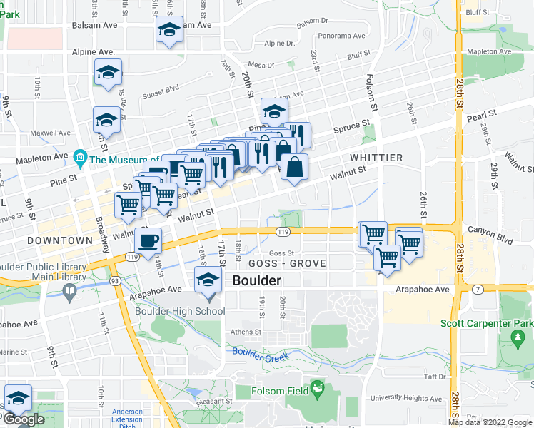 map of restaurants, bars, coffee shops, grocery stores, and more near 1836 19th Street in Boulder