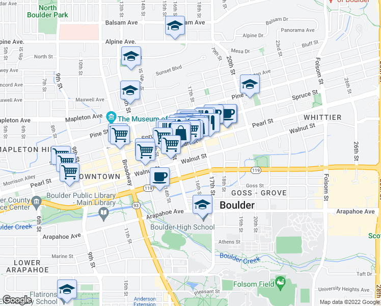 map of restaurants, bars, coffee shops, grocery stores, and more near 1542 Pearl Street in Boulder