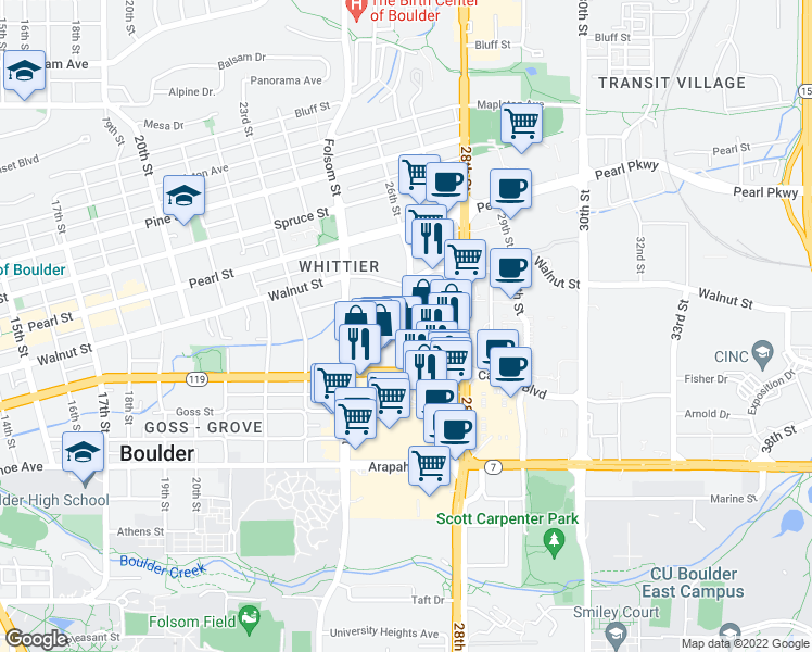 map of restaurants, bars, coffee shops, grocery stores, and more near 1853 26th Street in Boulder