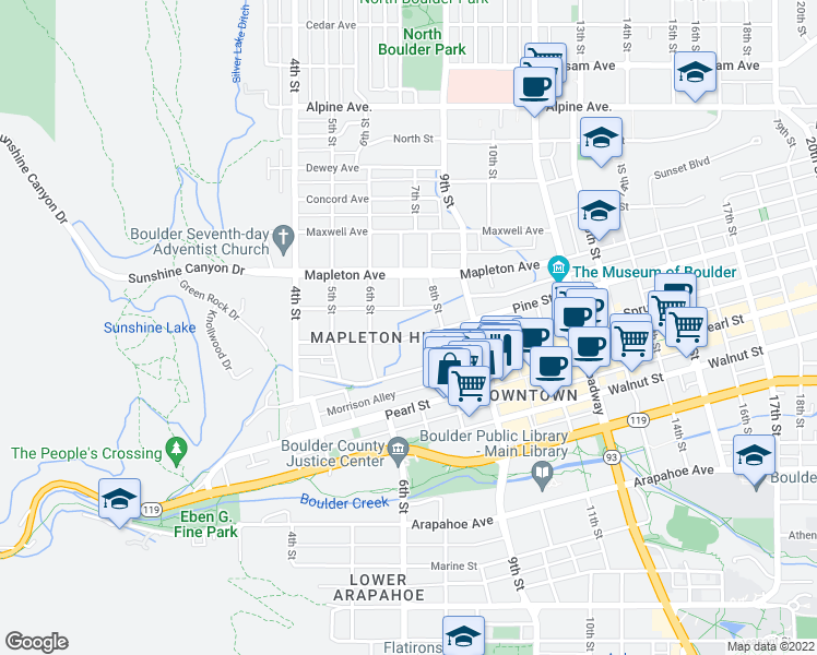 map of restaurants, bars, coffee shops, grocery stores, and more near 726 Pine Street in Boulder