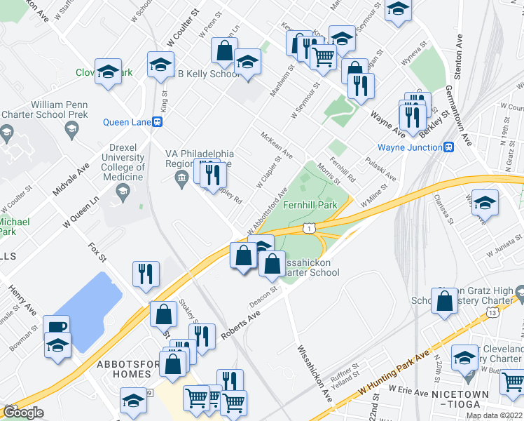 map of restaurants, bars, coffee shops, grocery stores, and more near 533 West Abbottsford Avenue in Philadelphia
