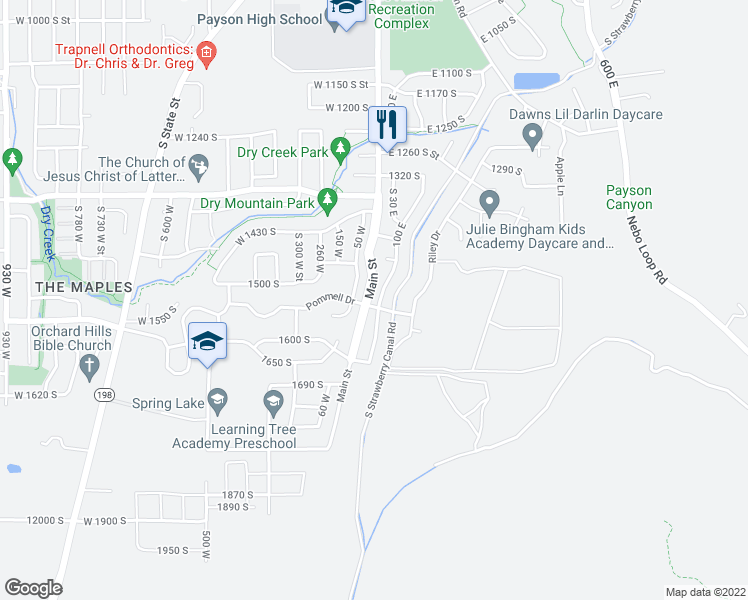 map of restaurants, bars, coffee shops, grocery stores, and more near 1548 South 30 East in Payson