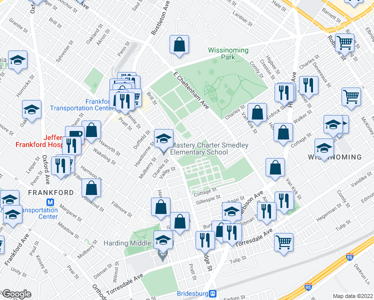 map of restaurants, bars, coffee shops, grocery stores, and more near 5349 Charles St in Philadelphia