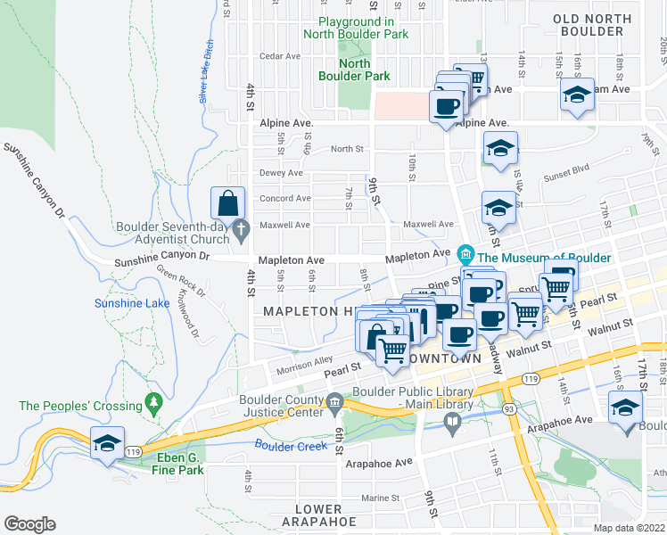 map of restaurants, bars, coffee shops, grocery stores, and more near 626 Mapleton Avenue in Boulder