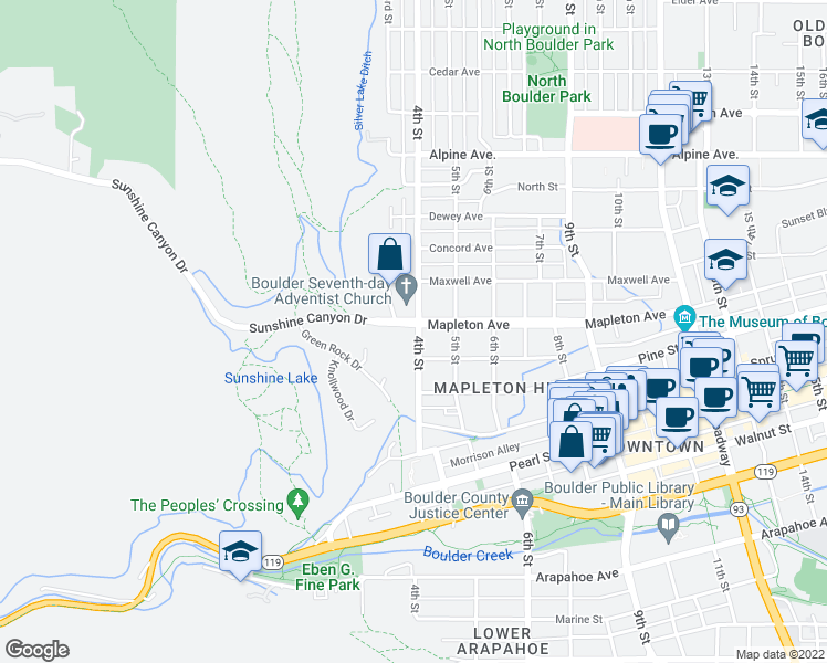 map of restaurants, bars, coffee shops, grocery stores, and more near 2321 4th Street in Boulder