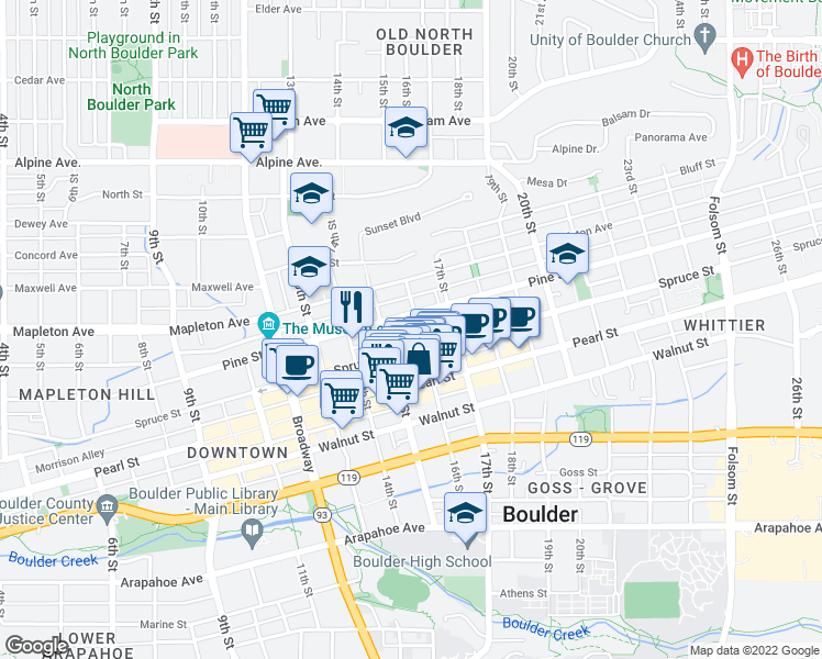 map of restaurants, bars, coffee shops, grocery stores, and more near 2127 16th Street in Boulder