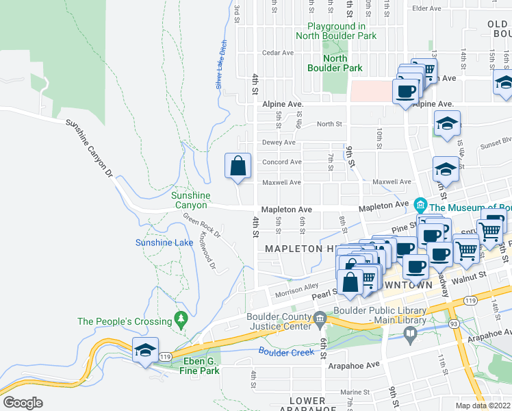 map of restaurants, bars, coffee shops, grocery stores, and more near 430 Mapleton Avenue in Boulder