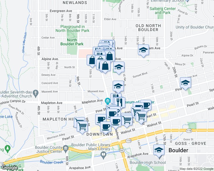 map of restaurants, bars, coffee shops, grocery stores, and more near 2400 Broadway in Boulder