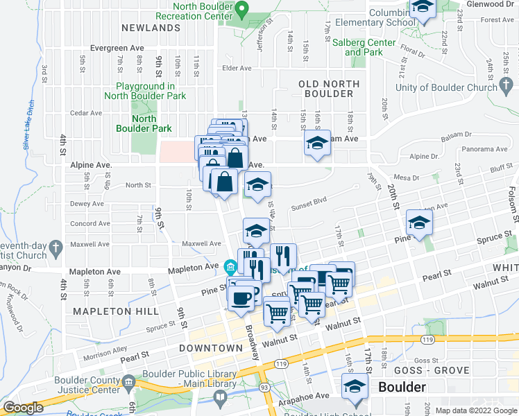 map of restaurants, bars, coffee shops, grocery stores, and more near 1301 High Street in Boulder