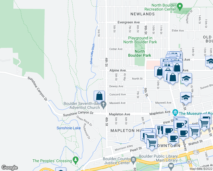 map of restaurants, bars, coffee shops, grocery stores, and more near 335 Dewey Avenue in Boulder