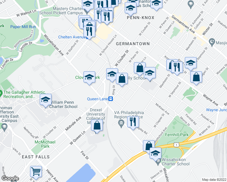 map of restaurants, bars, coffee shops, grocery stores, and more near 5317 Laurens Street in Philadelphia