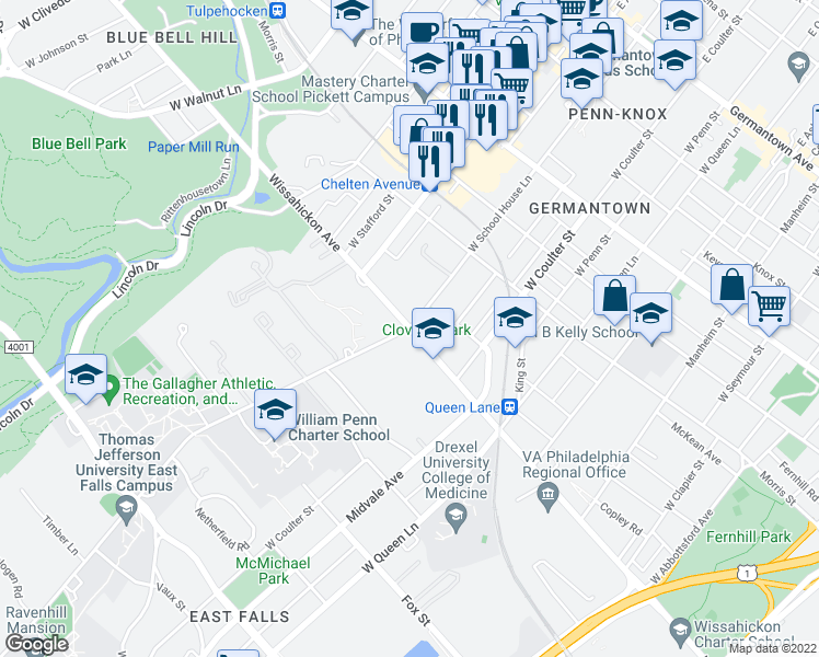 map of restaurants, bars, coffee shops, grocery stores, and more near Wissahickon Ave & W School House Ln in Philadelphia