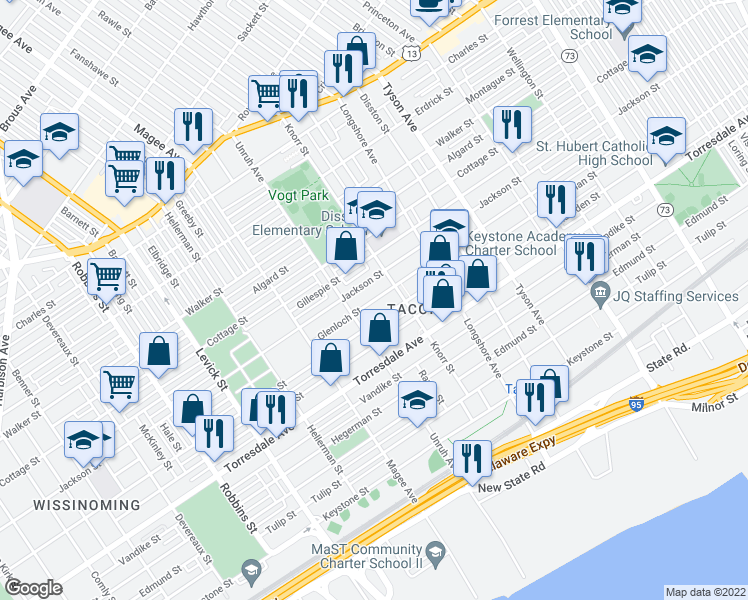 map of restaurants, bars, coffee shops, grocery stores, and more near Glenloch Street in Philadelphia