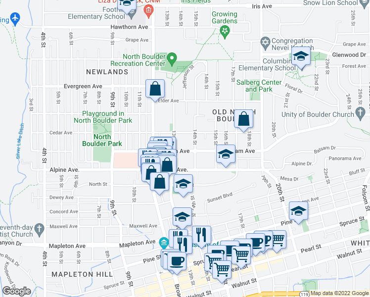 map of restaurants, bars, coffee shops, grocery stores, and more near 1325 Balsam Avenue in Boulder