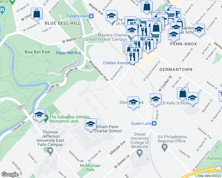 map of restaurants, bars, coffee shops, grocery stores, and more near 5500 Wissahickon Avenue in Philadelphia