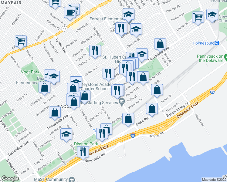 map of restaurants, bars, coffee shops, grocery stores, and more near 7048 Vandike Street in Philadelphia