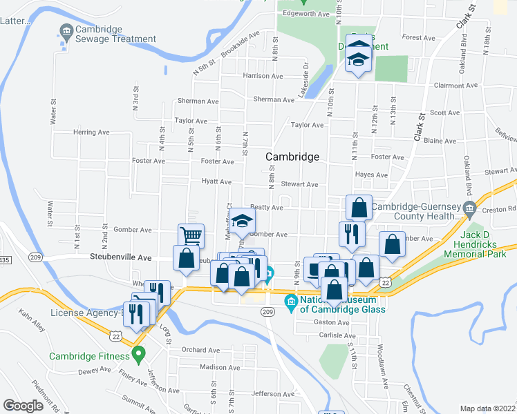 map of restaurants, bars, coffee shops, grocery stores, and more near Beatty Avenue in Cambridge