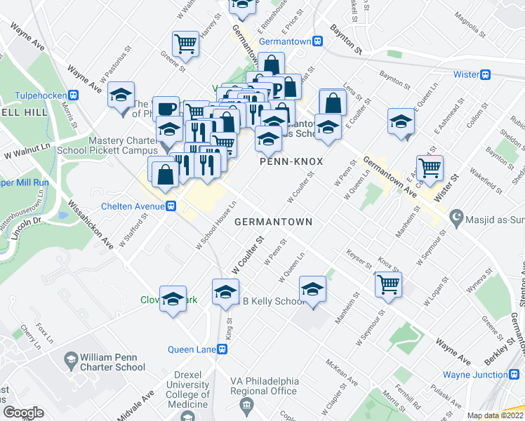 map of restaurants, bars, coffee shops, grocery stores, and more near 5427 Wayne Avenue in Philadelphia