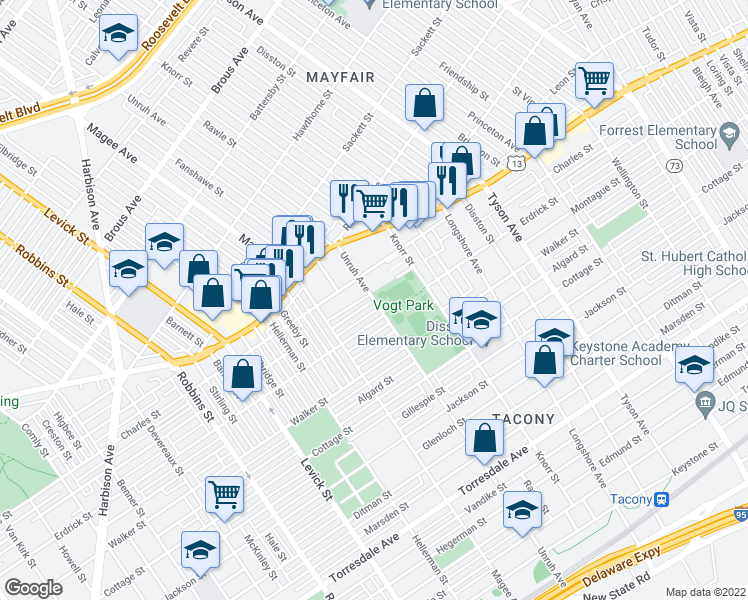 map of restaurants, bars, coffee shops, grocery stores, and more near Unruh Ave & Tackawanna St in Philadelphia