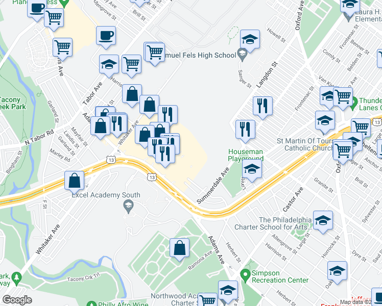 map of restaurants, bars, coffee shops, grocery stores, and more near 7 in Philadelphia