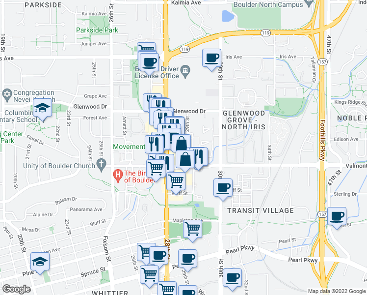 map of restaurants, bars, coffee shops, grocery stores, and more near 3061 29th Street in Boulder