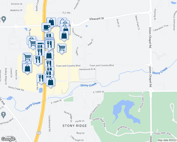 map of restaurants, bars, coffee shops, grocery stores, and more near Harewood Drive North in Noblesville