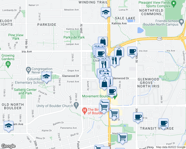 map of restaurants, bars, coffee shops, grocery stores, and more near 2717 Glenwood Drive in Boulder