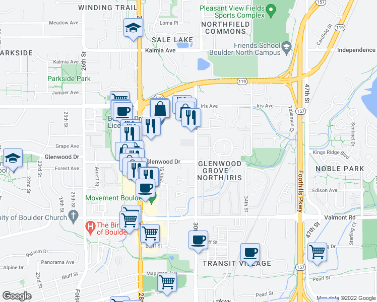 map of restaurants, bars, coffee shops, grocery stores, and more near 2995 Glenwood Drive in Boulder