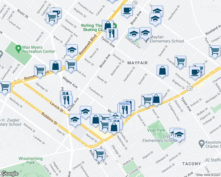 map of restaurants, bars, coffee shops, grocery stores, and more near 3026 Rawle Street in Philadelphia