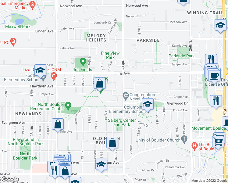 map of restaurants, bars, coffee shops, grocery stores, and more near 1707 Grape Avenue in Boulder