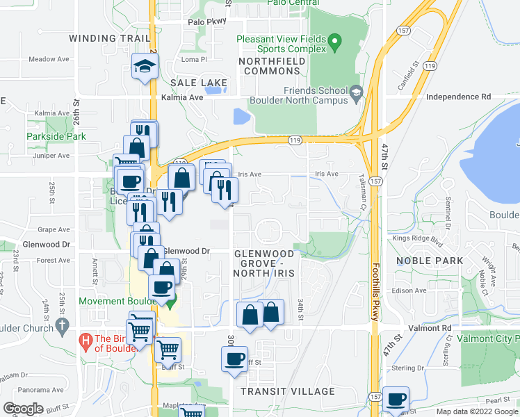 map of restaurants, bars, coffee shops, grocery stores, and more near 3120 Corona Trail in Boulder