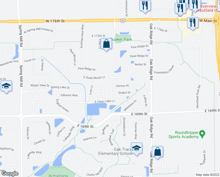 map of restaurants, bars, coffee shops, grocery stores, and more near 17046 Kirklin Drive in Westfield