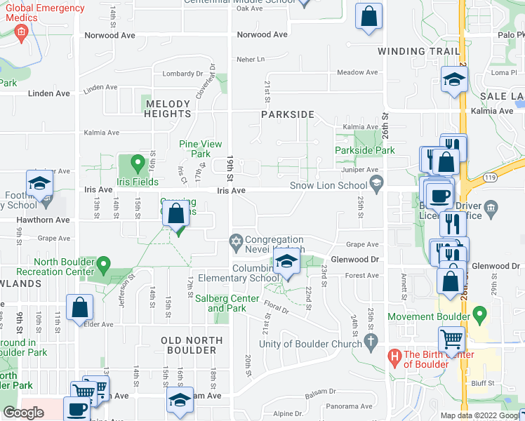 map of restaurants, bars, coffee shops, grocery stores, and more near 2015 Hermosa Drive in Boulder