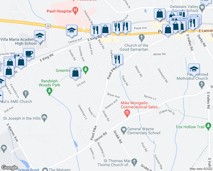 map of restaurants, bars, coffee shops, grocery stores, and more near 140 Paoli Pike in Malvern