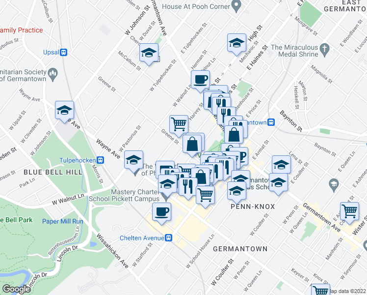 map of restaurants, bars, coffee shops, grocery stores, and more near West Haines Street in Philadelphia