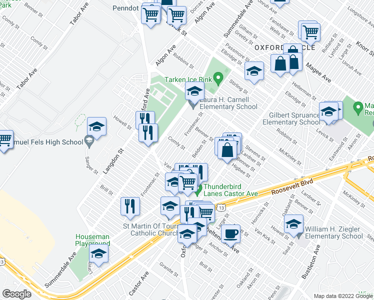 map of restaurants, bars, coffee shops, grocery stores, and more near E Comly St & Shisler St in Philadelphia