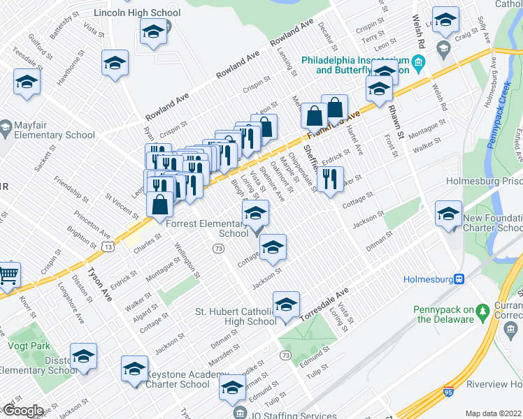 map of restaurants, bars, coffee shops, grocery stores, and more near 4234 Loring Street in Philadelphia