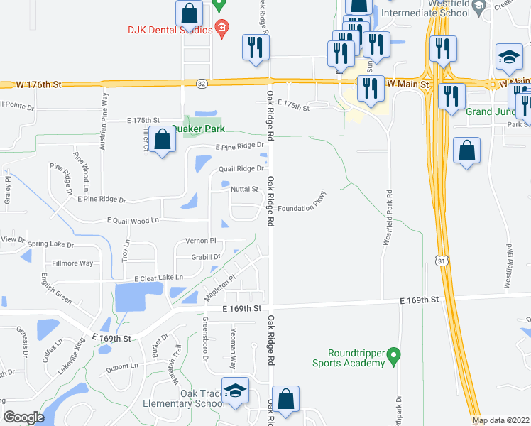 map of restaurants, bars, coffee shops, grocery stores, and more near 640 Sawtooth Street in Westfield