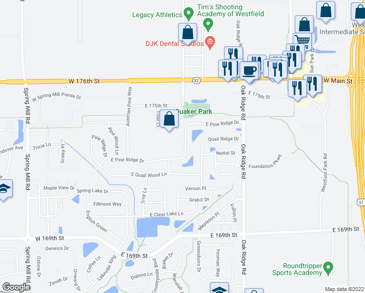 map of restaurants, bars, coffee shops, grocery stores, and more near 432 East Pine Ridge Drive in Westfield