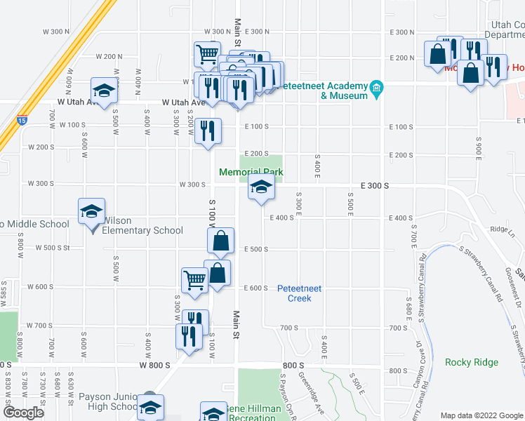 map of restaurants, bars, coffee shops, grocery stores, and more near 124 East 400 South in Payson