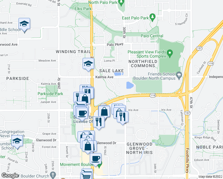 map of restaurants, bars, coffee shops, grocery stores, and more near 2959 Diagonal Highway in Boulder