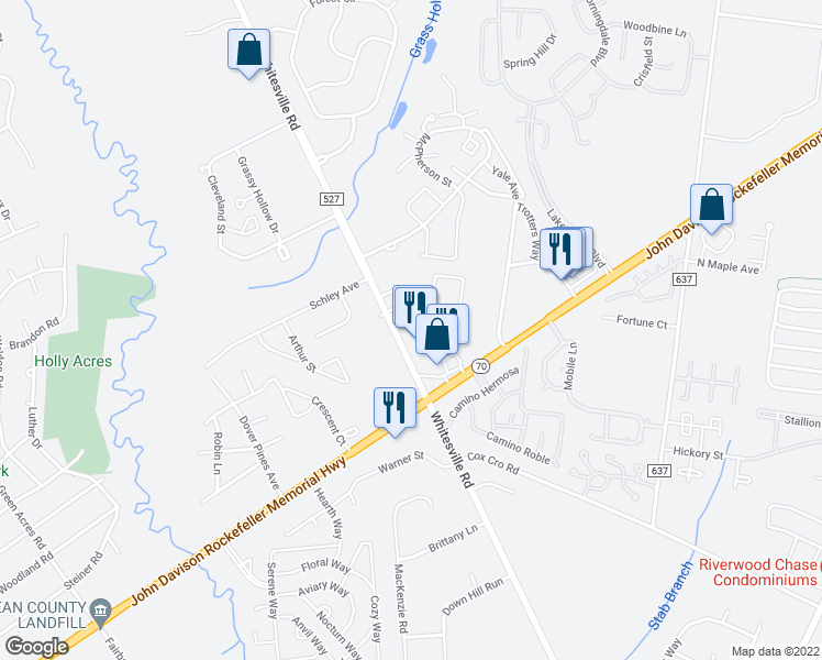 map of restaurants, bars, coffee shops, grocery stores, and more near 2145 Whitesville Road in Toms River