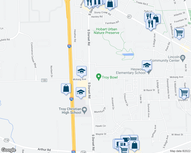 map of restaurants, bars, coffee shops, grocery stores, and more near 1565 Mckaig Ave in Troy