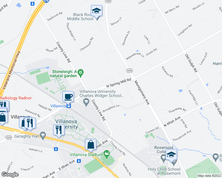 map of restaurants, bars, coffee shops, grocery stores, and more near 335 North Spring Mill Road in Villanova