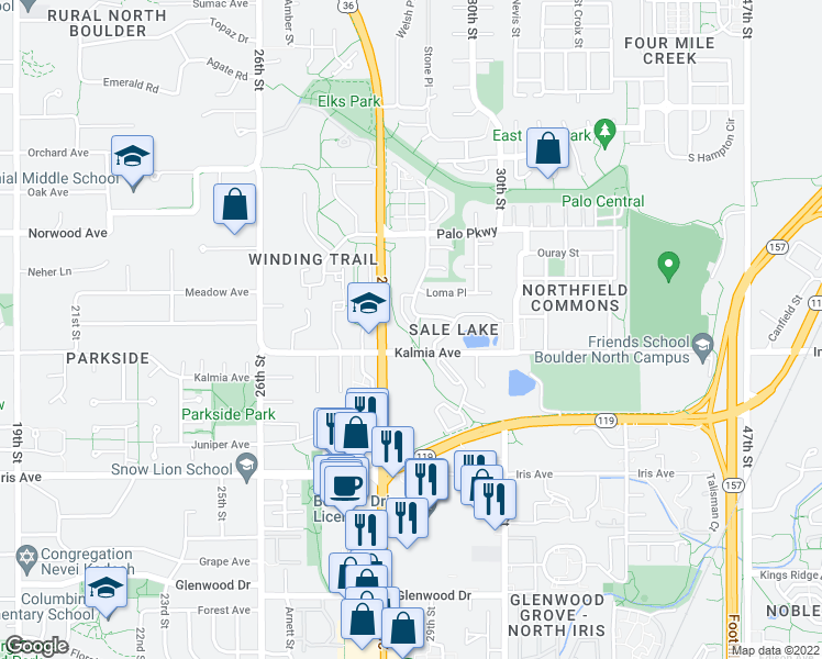 map of restaurants, bars, coffee shops, grocery stores, and more near 3641 Paseo del Prado in Boulder