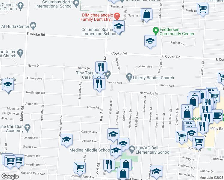 Map Of Restaurants Bars Coffee S Grocery Ore Near 1441