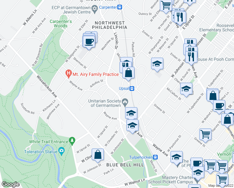 map of restaurants, bars, coffee shops, grocery stores, and more near Lincoln Drive & West Hortter Street in Philadelphia