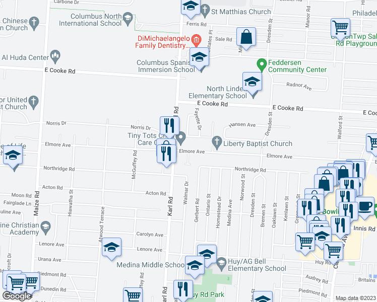 Map Of Restaurants Bars Coffee S Grocery Ore Near 3710