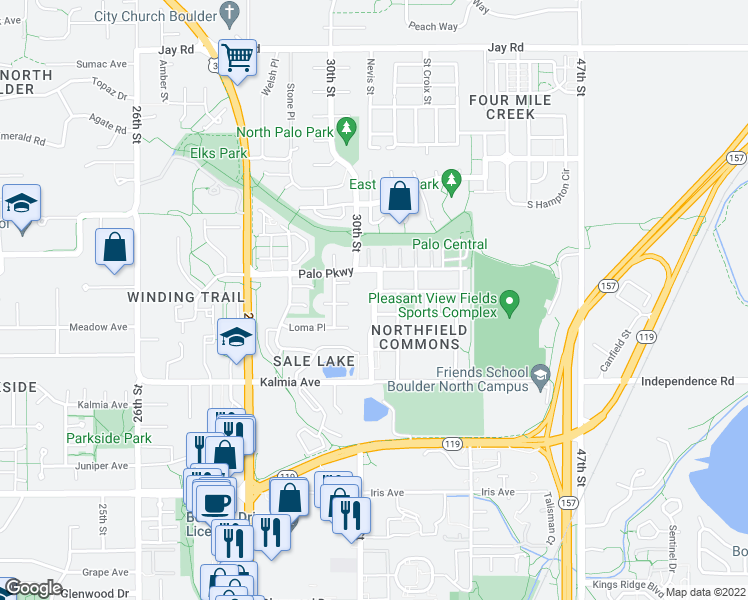 map of restaurants, bars, coffee shops, grocery stores, and more near 3701 Paonia Street in Boulder